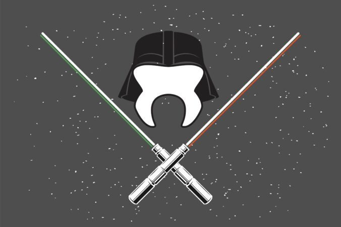 Star Wars-themed tooth with lightsabers